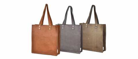 Three Leather bags, Cognac/Grey/Brown