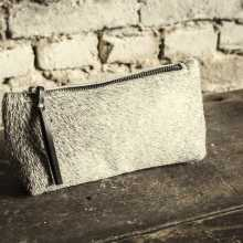 Grey cowhide clutch