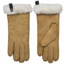 Camel kleur lamsvacht dames handschoenen