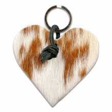 Cognac & white spotted cowhide heart shaped keychain