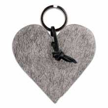 Gray cowhide heart shaped keychain