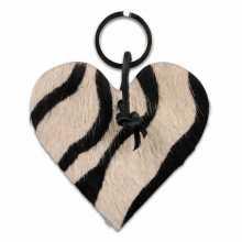Zebra print cowhide heart shaped keychain