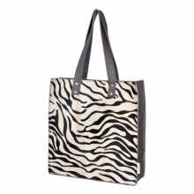 Shopper made from zebra printed cowhide