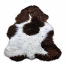 Brown/white Texel's furry sheepskin