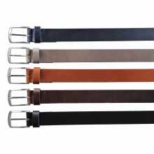 Blue, beige, cognac, brown and black leather belt