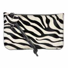 Zebra print cowhide clutch