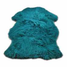 Petrol blue painted Texels sheepskin