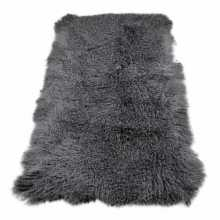 Gray rectangular sheepskin rug