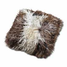 Brown & White sheepskin pillow