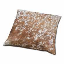Cognac & White spotted cowhide pillow
