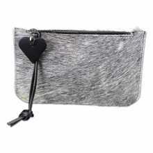 Grey cowhide clutch