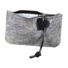 Grey cowhide clutch with open zipper