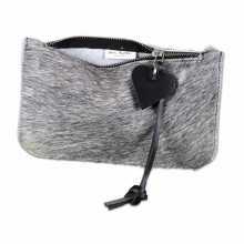 Grey cowhide clutch with open zipper