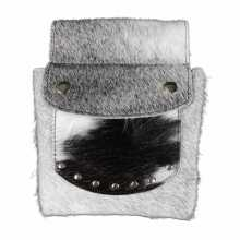 Gray and Black & White cowhide pouch
