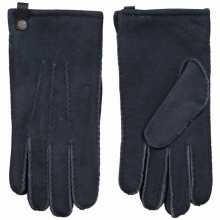 Blauwgrijze lamsvacht heren handschoenen